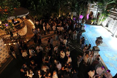 The scene at the New Leadership 'Blue and White Party, held at Villa Casa Casuarina, the former Versace Mansion