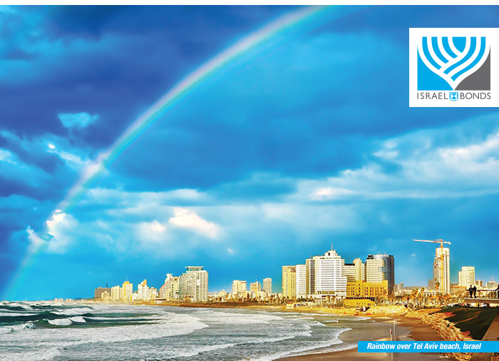 Rainbow over Tel Aviv beach, Israel