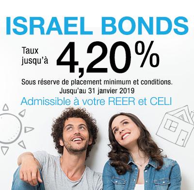 Israel Bonds meilleur taux 4,20% jusqu'au 31 janvier 2019