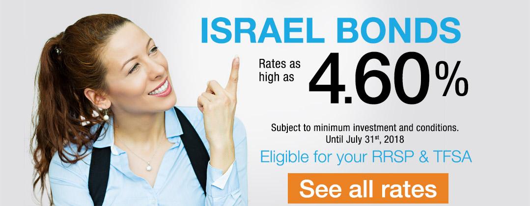 Israel Bonds Top Rate 4.60% until July 31 2018