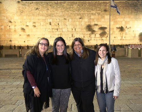 Shira Lewis (far right), stands next to Barbara Hutter, Barbara's daughter Jessica Hutter and Lauren Kramer in front of the Western Wall