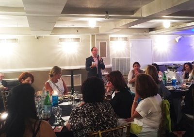 Tony Award-winning producer Seth Goldstein shares the history of Three Tall Women with the members of Israel Bonds' Women's Division Prime Minister's Circle at Colbeh restaurant