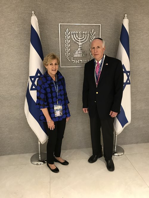 Ilene and Adrian Grant at the official residence of Israeli President Reuven Rivlin during the Israel Bonds 70th anniversary delegation