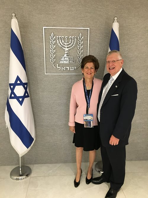 Helene and Burt Herbstman, MD at Beit HaNassi, official residence of the President of Israel, during the Bonds 70th anniversary delegation