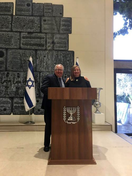 Gina and her husband Jeff at President Reuven Rivlin's home during Israel Bonds' International Delegation
