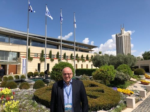 Jonathan Lewis outside of the Israeli Foreign Ministry in Jerusalem