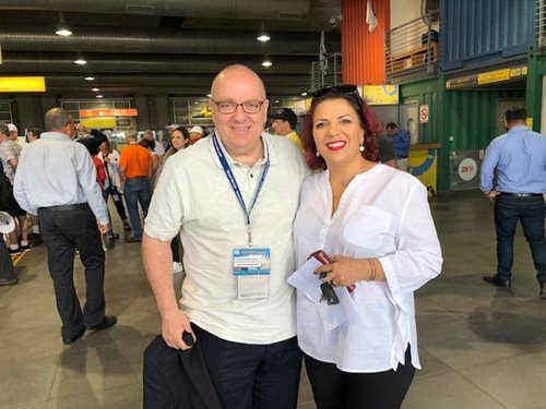 Mr. Lewis with cousin Nurit Perez at Ashdod Port
