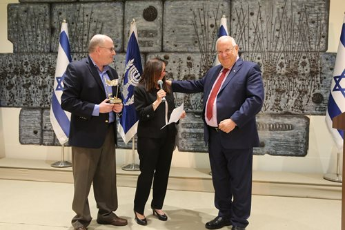 Shira and Eric Lewis with President Reuven Rivlin during the Bonds 70th anniversary delegation (Photo: Yossi Zamir)