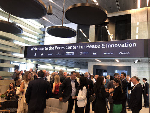 Participants from around the world gather for the opening of the Israeli Innovation Center