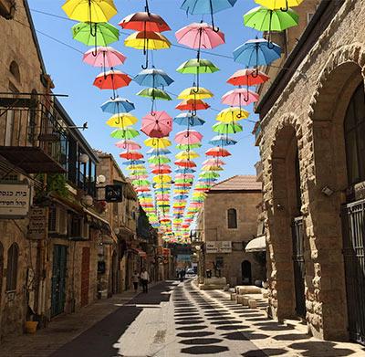 Colorful umbrellas on Yoel Moshe Solomon Street, Jerusalem, Israel